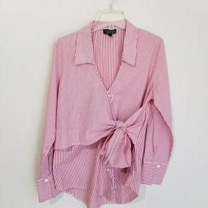 TOPSHOP BUTTON DOWN SHIRT RED WHITE SIZE 4 TIE
